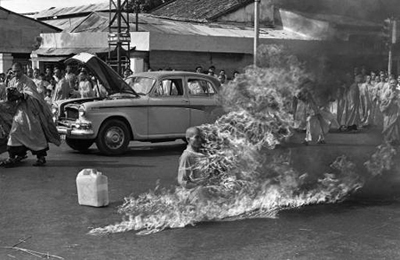 On July 11, 1963 a Vietnamese monk named Thích Quảng Đức's burned himself to death on a busy Saigon road to protest the persecution of Buddhists by the South Vietnamese government.